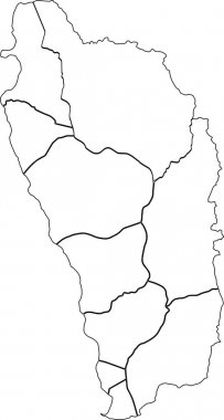 White vector map of Dominica with black borders of it's parishes icon
