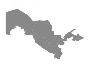 Grey Flat Regions Map of the Asian Country of Uzbekistan icon
