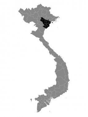 Black Location Map of the Vietnamese Region of Red River Delta within Grey Map of Vietnam icon
