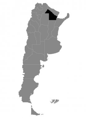 Black Location Map of the Argentinian Province of Chaco within Grey Map of Argentina icon