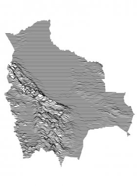 Black and White 3D Contour Topography Map of the South American Country of Bolivia icon