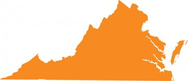 Orange map of US federal state of Virginia (Old Dominion, Mother of Presidents)
