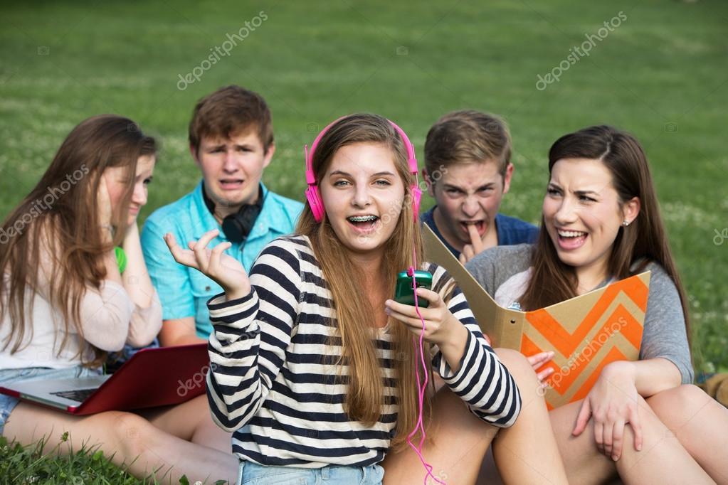 Singing Girl Annoying Friends