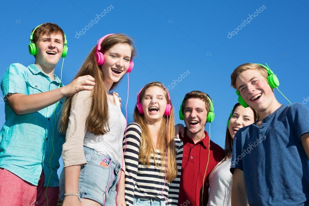Six Happy Teens Laughing