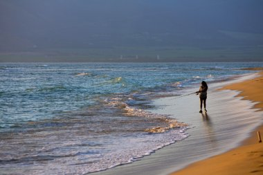 Kihei Beach with Woman Fishing