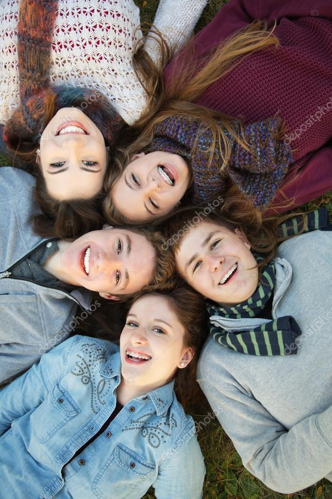Five Teens Close Together