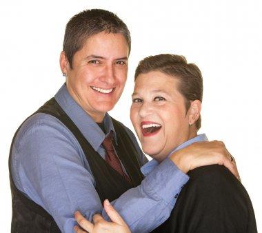 Joking lesbian couple