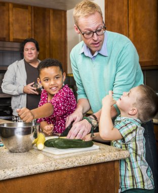 Same Sex Couple with Kids in Kitchen