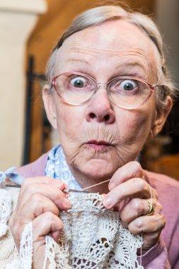 Elder woman with crochet
