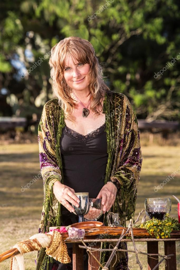Modern Witch with Goblets