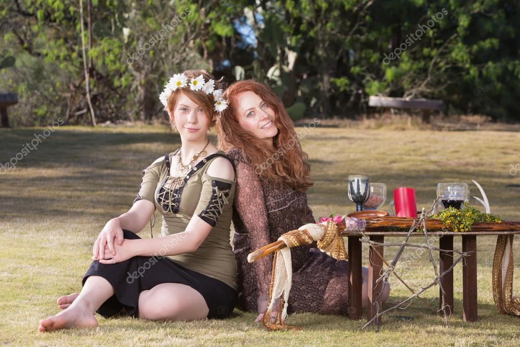 Smiling Pagan Women at Altar