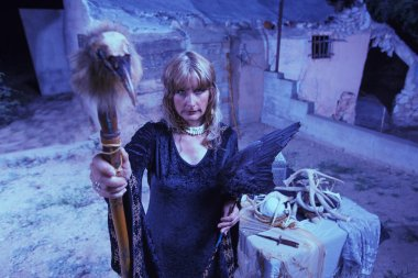 Blond Witch with Bird Staff