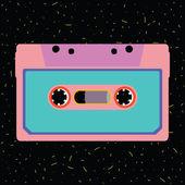 Retro kazeta v plochý