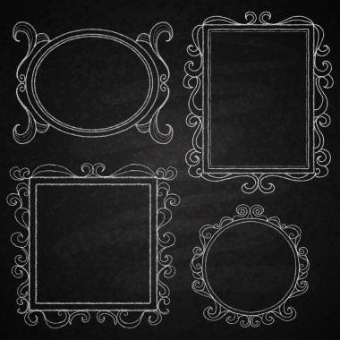 Chalk on board. Set of frames