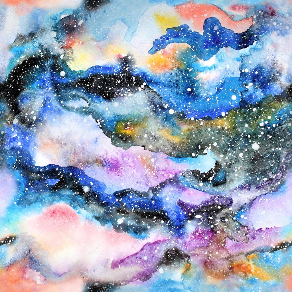 Watercolor galaxy illustration. Seamless pattern.