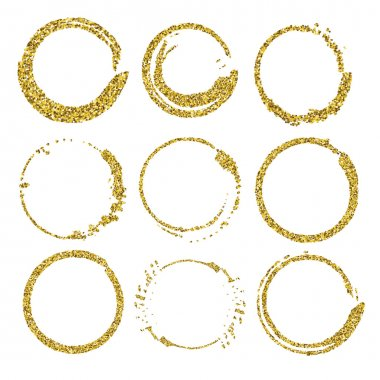 Set of glitter round frames.
