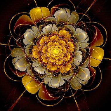 Dark gold fractal flower pattern