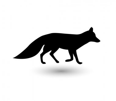 Silhouette of fox, vector
