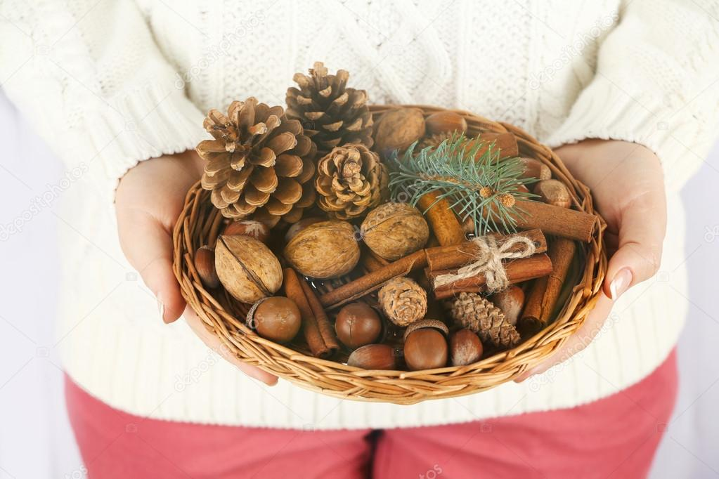 Wicker basket with Christmas decoration — Stock Photo ...