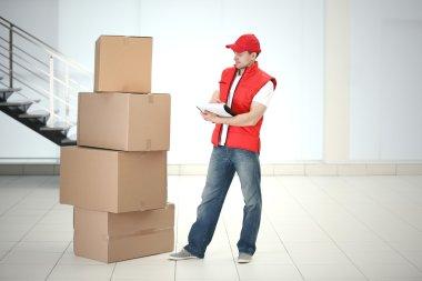 Postman in red jacket