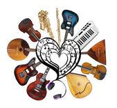 koláž hudebních nástrojů