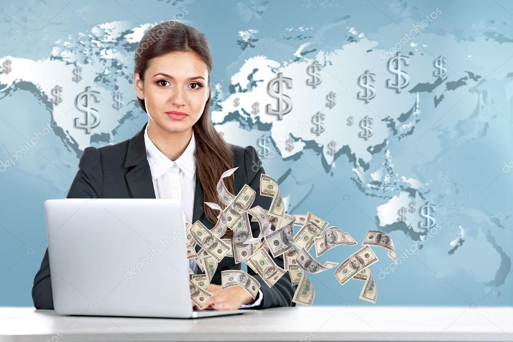 lady with laptop  Business lady with laptop — Stock Photo © belchonock #104350362