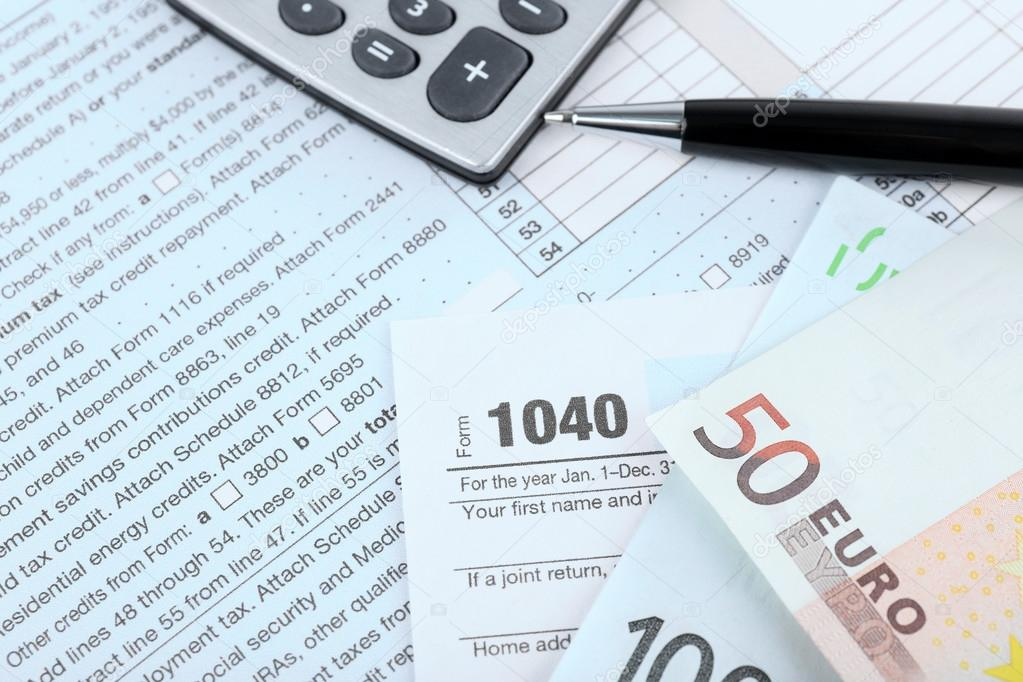 1040 Income Tax Form And Euro Bills Stock Photo Belchonock