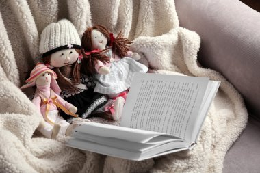Rag dolls with fairy tales book