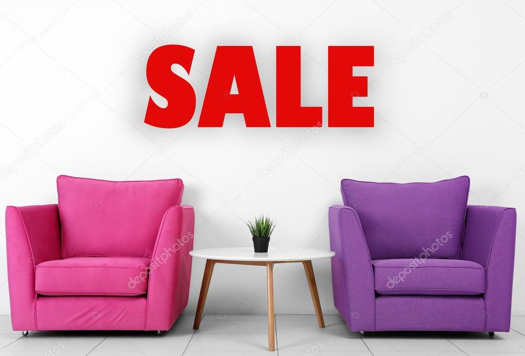 Colorful Armchairs, White Table And Plantu2013 Stock Image