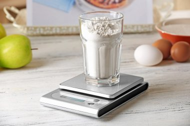 Glass of flour and digital kitchen scales