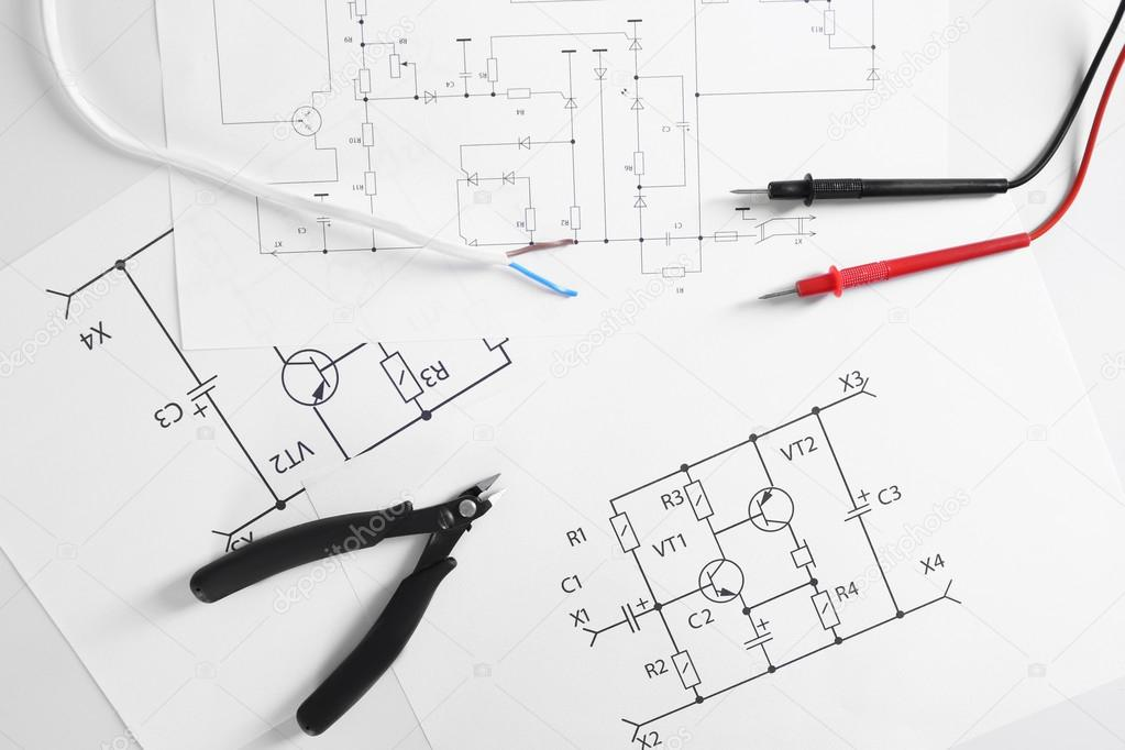 Electrical drawings with tools — Stock Photo © belchonock #108221160