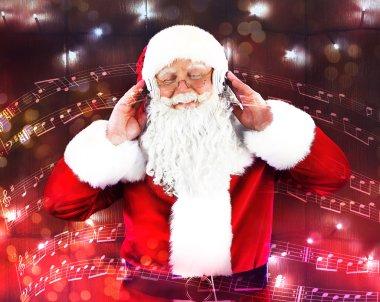 Santa Claus with headphones
