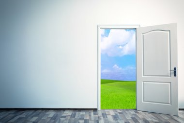Open door leading to green field