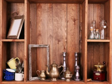 shelves with antiques things