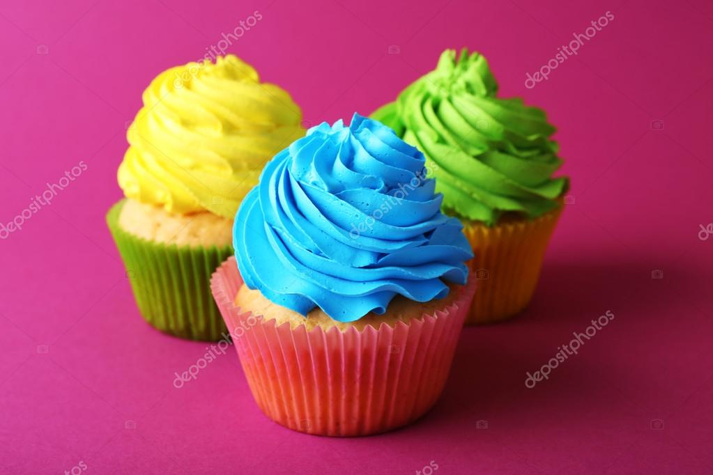 Colorful Birthday Cupcakes On Pink Background Photo By