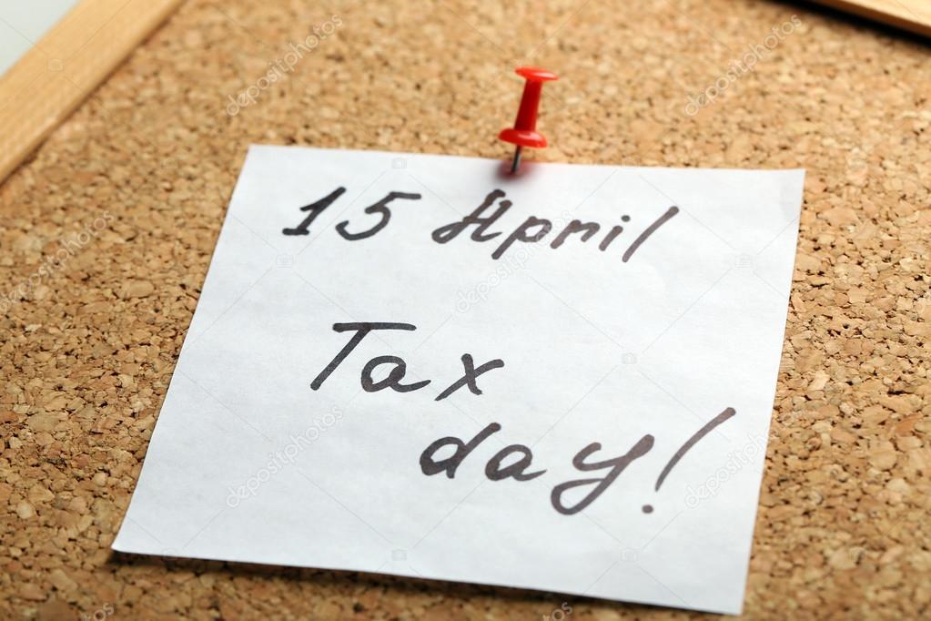 Steuer Tag Hand Schriftliche Mahnung Stockfoto Belchonock 110563160