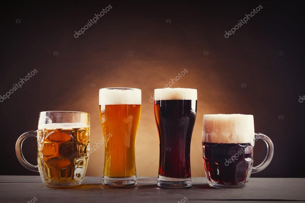 Different sorts of draft beer in glasses