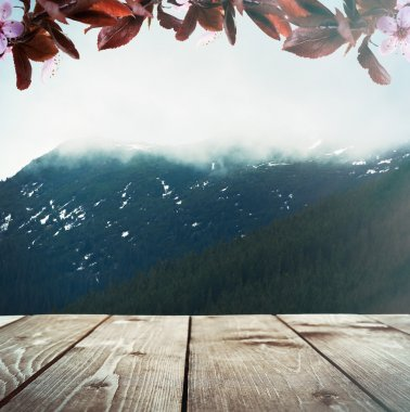 Wooden terrace with mountains landscape