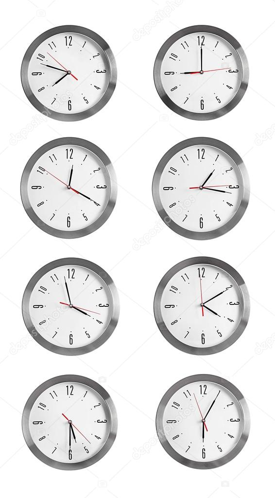 Collage Of Round Wall Clocks Stock Photo Belchonock 111246418