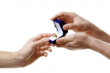 groom giving wedding ring to another