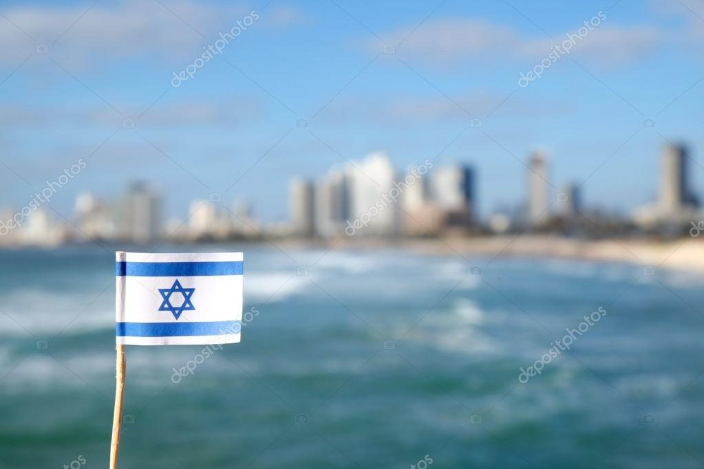 Israel flag on sea background