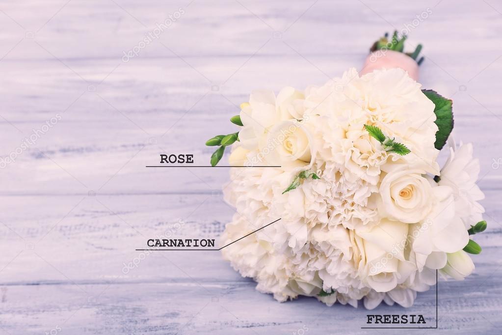 wedding bouquet with flowers names — Stock Photo © belchonock #113523844
