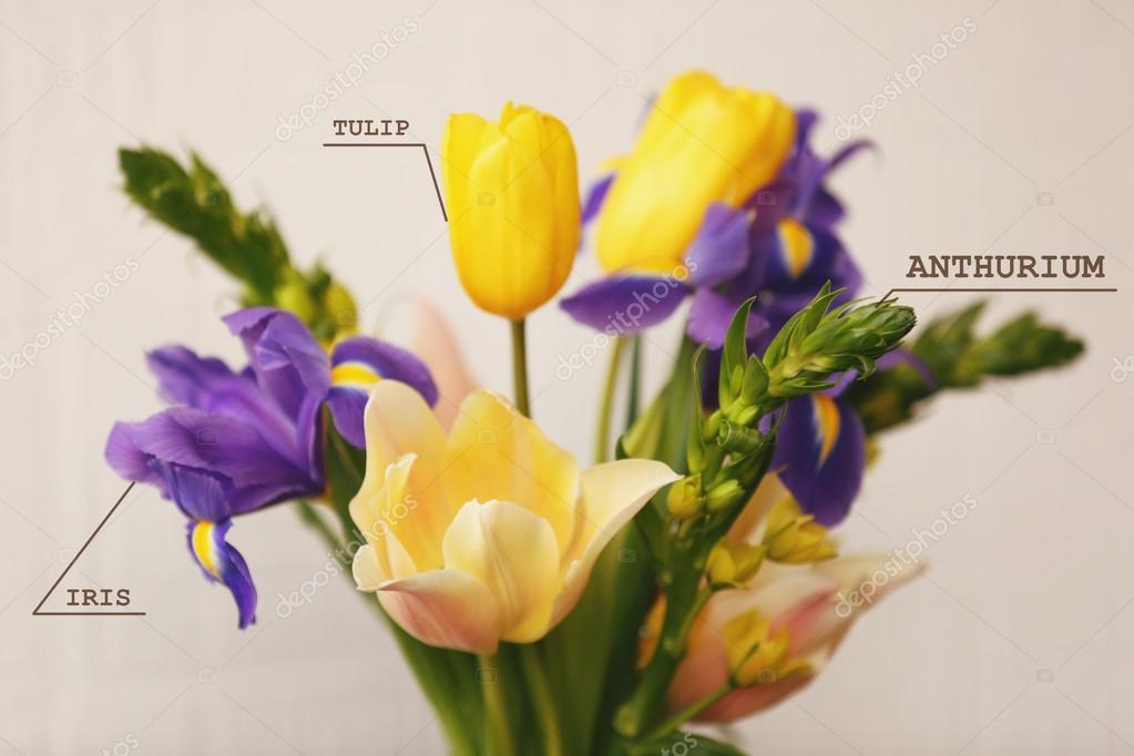 boeket met bloemen namen — stockfoto © belchonock #113524052