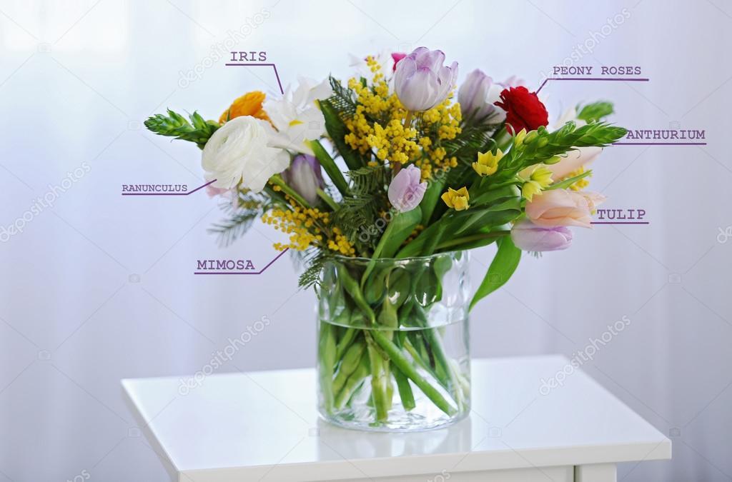 boeket met bloemen namen — stockfoto © belchonock #113524070