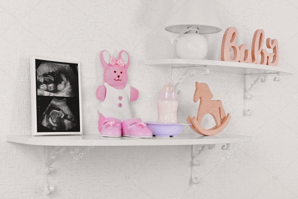 Marco de fotos con la exploración del ultrasonido del bebé — Fotos ...