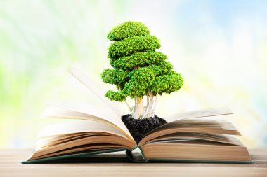 Book with green tree