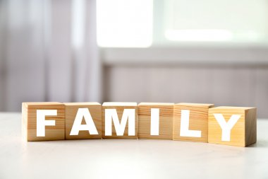 Word FAMILY on  background