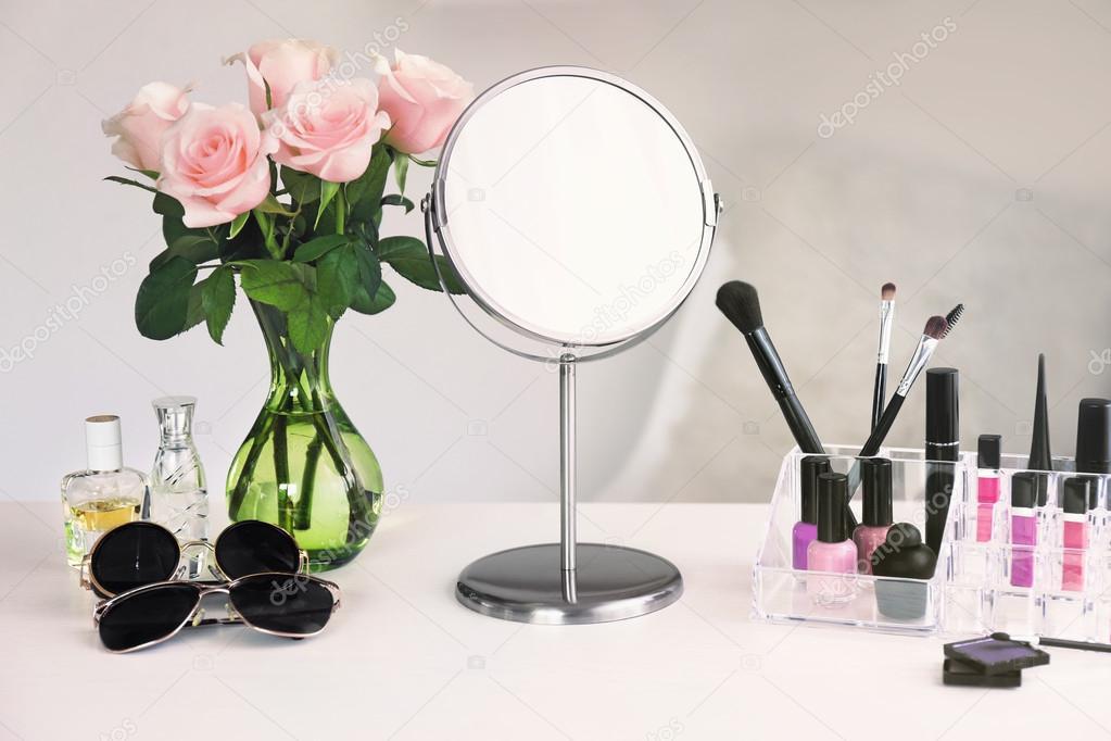 Cosmetic Set On Dressing Table U2014 Stock Photo