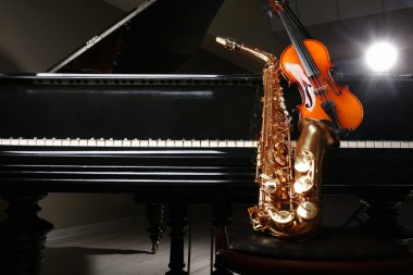 Violin with saxophone and piano
