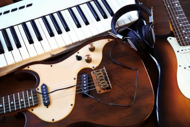 Electric guitars and synthesizer